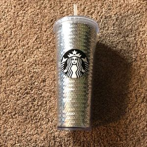 Starbucks sequin coffee cup lid straw silver 24oz